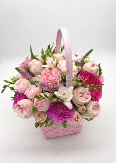 Букет цветов в корзине «Bubble gum»