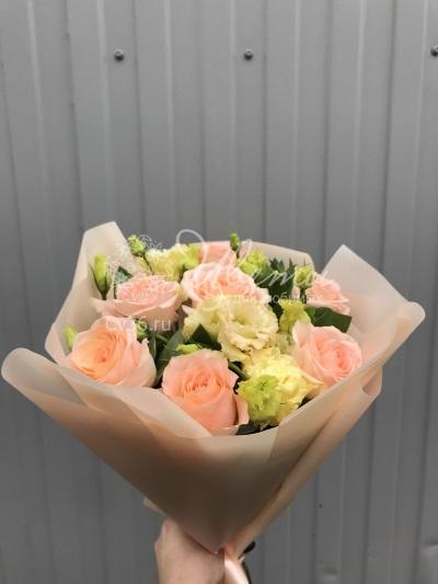 Цветы: «Персиковый букет» - Розы, альстромерия